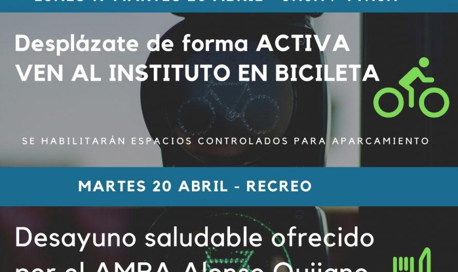 DESPLAZAMIENTO ACTIVO (BICICLETAS) + DESAYUNO SALUDABLE (AMPA ALONSO QUIJANO)